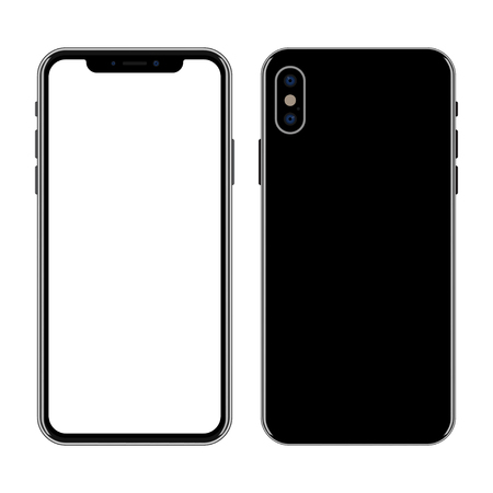 New smartphone front and back isolated on white background. Ilustracja