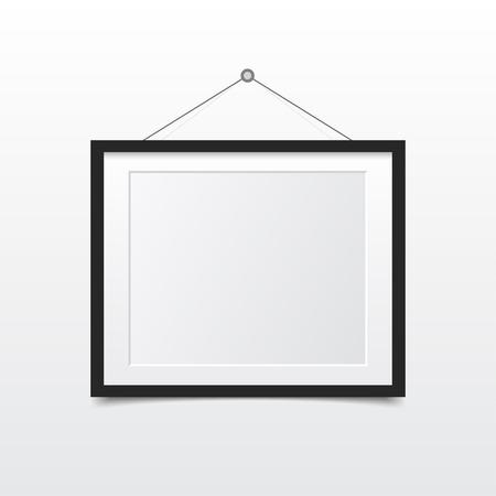 Leeg fotokader op de muur. Ontwerp voor modern interieur. Vector illustratie. Stock Illustratie