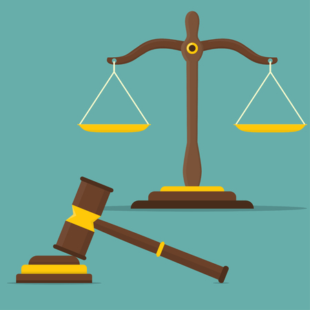 Justice scales and wooden judge gavel. Libra in flat design. Vector illustration.
