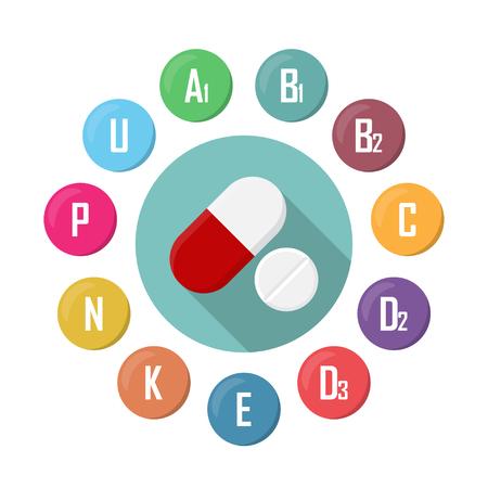 Vitamin supplement icons. Diet infographic poster. Pill vector illustration. Stock fotó - 90425356