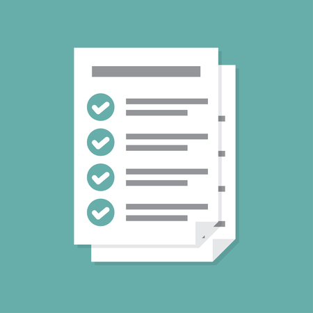 Documents icon. Stack of paper sheets. Confirmed or approved document. Flat illustration isolated on color background. Illustration