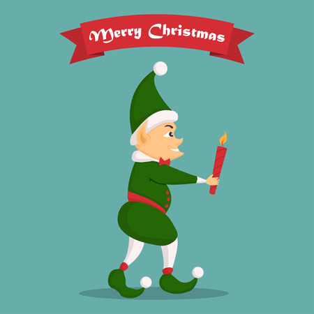 Christmas elf character with candle in a flat design.