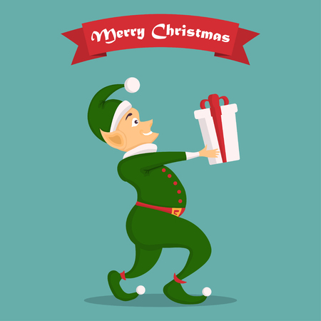 Christmas elf character with gift in a flat design. Illustration