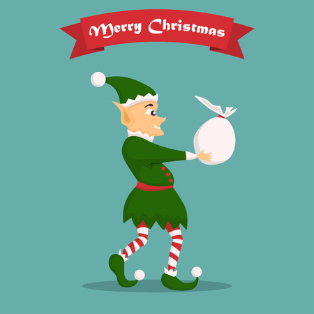 Christmas elf character with bag in a flat design. Illustration