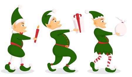 Set of christmas elf character with bag in a flat design. Illusztráció