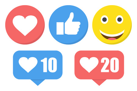 Funny flat style emoji emoticon reactions color icon set. Social smile expression collection.