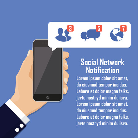 Human hand holding mobile phone with social network notification on screen.
