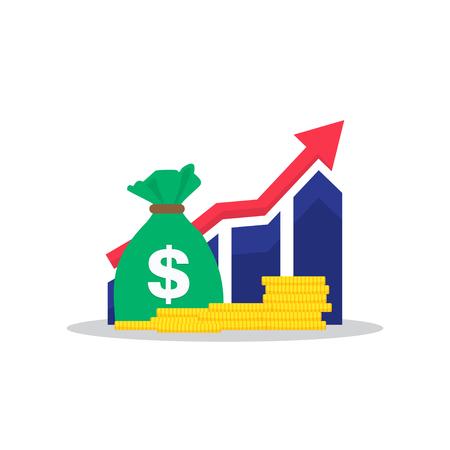 Inkomenstoename, financiële strategie, hoog rendement op investeringen, begrotingssaldo, fondsenwerving, toename op lange termijn, omzetgroei. Vector Illustratie