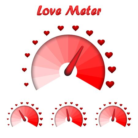 Love meter, Valentines Day card design element. Vector illustration.
