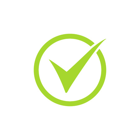 Tick icon vector symbol, green check mark isolated on white background, checked icon or correct choice sign, check mark or checkbox pictograph. Illustration