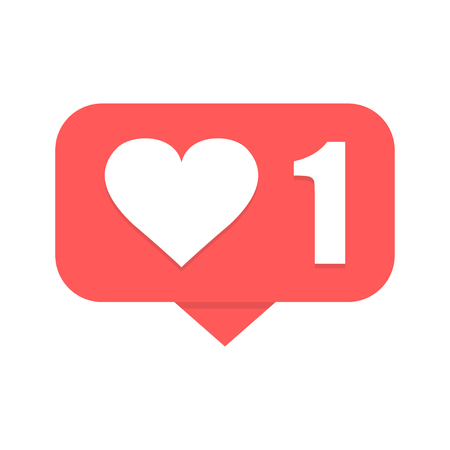 New like notification. Heart icon. Vector illustration.