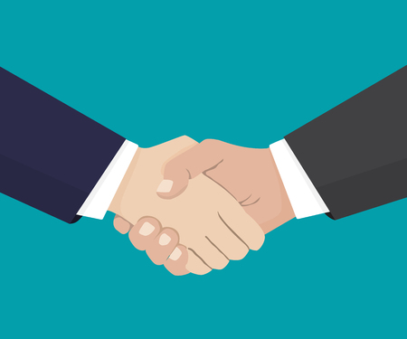 Handshake of business partners.Vector flat style illustration.