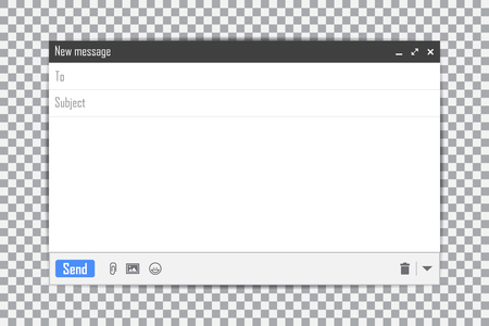 E-mail blank template internet mail frame interface for mail message on a transparent background.
