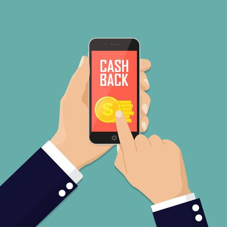 Cash back sticker, labels, emblem. Gold coins in smartphone. Cashback or money refund concept. Flat vector illustration. 矢量图像
