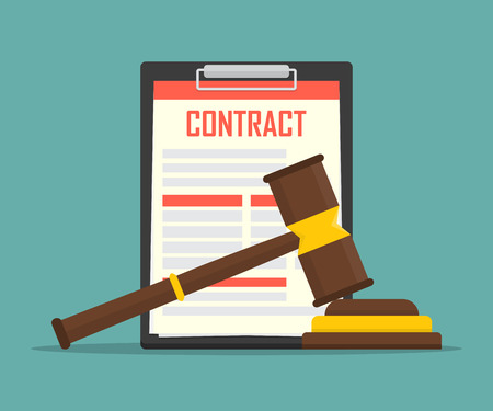 contract law concept of legal regulation judicial system business agreement law-suit. Vektoros illusztráció