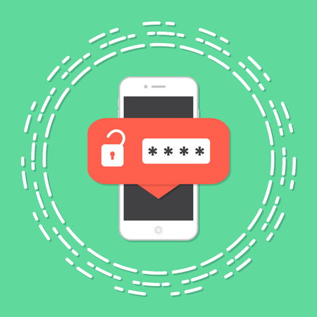 Mobile phone unlocked notification button and password field Illustration