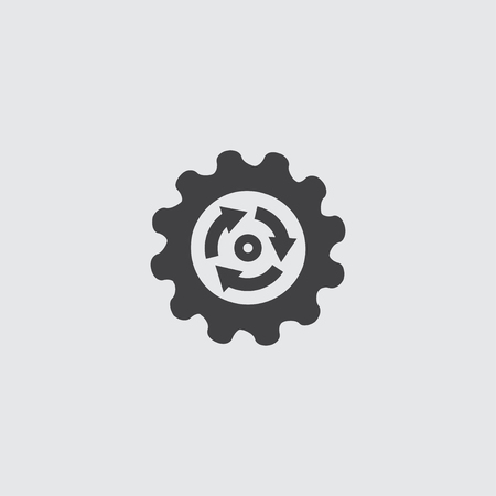 Gear reload Icon in a flat design in a black color. 向量圖像