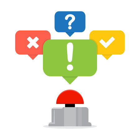 Red button with speech bubbles. Quiz concept.