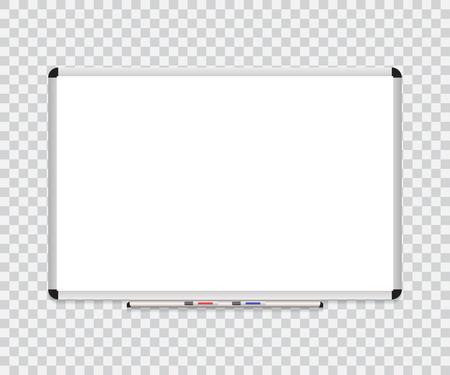 Whiteboard background frame with eraser whiteboard, color markers. Vector illustration.