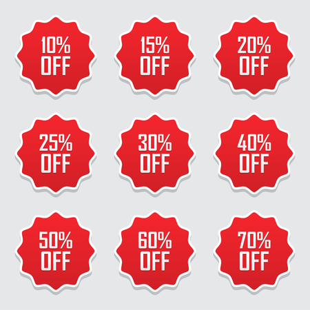 Sale tags set vector badges template, 10 off, 15 %, 20, 25, 30, 40, 50, 60, 70 percent sale label symbols, discount promotion flat icon with long shadow. Illustration
