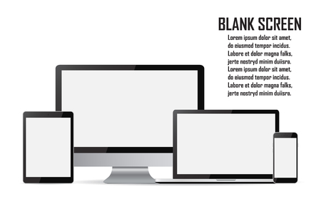 Set of blank screens. Computer monitor, laptop, tablet, smartphone. Vectores