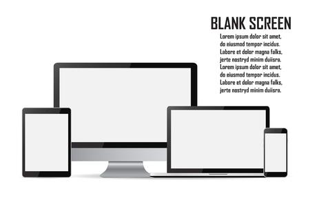 Set of blank screens. Computer monitor, laptop, tablet, smartphone. Ilustração