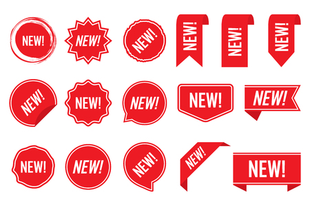New labels, red isolated on white background, vector illustration.