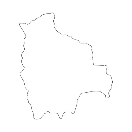 Bolivia linear map on a white background. Vector illustration.