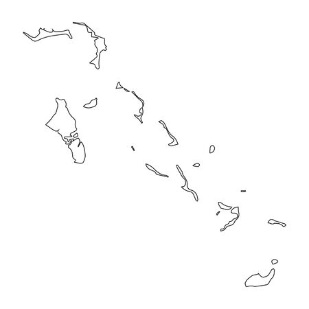 Bahamas linear map on a white background. Vector illustration.