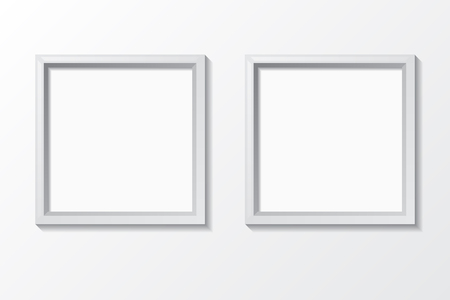 Blank photo frame on the wall. Design for modern interior. Vector illustration. Illusztráció