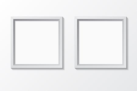 Blank photo frame on the wall. Design for modern interior. Vector illustration. Vettoriali