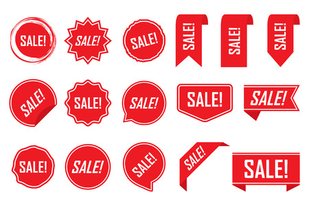 Red labels, red isolated on white background, vector illustration. Illustration