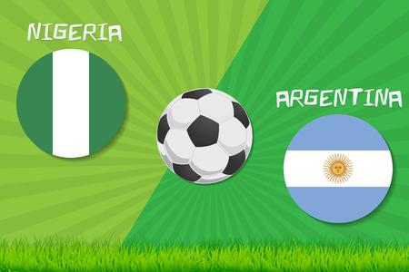 Football match Nigeria vs Argentina. Sport background. Illustration