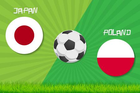 Football match Japan vs Poland. Sport background.