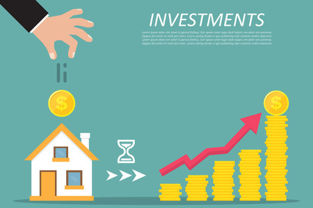 Business concept. Investing, real estate, investment opportunity. Vector illustration. Ilustrace