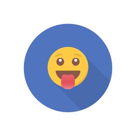 Smile icon in a flat design with long shadow for social media. Illustration