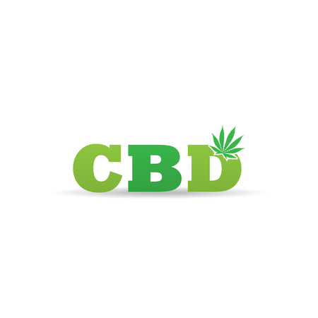 CBD logo branding letter with hemp icon. 일러스트