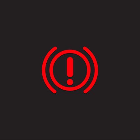 Car dashboard panel icon on a black background. Brake system. Ilustração Vetorial