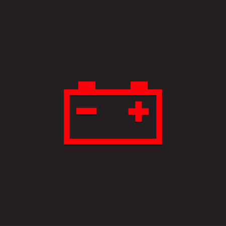 Car dashboard panel icon on a black background. Battery charging indicator. Stock Illustratie
