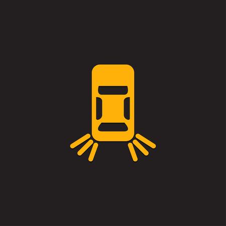 Auto dashboard paneelpictogram op een zwarte achtergrond. Storing van de lamp in de achterlichten. Vector Illustratie
