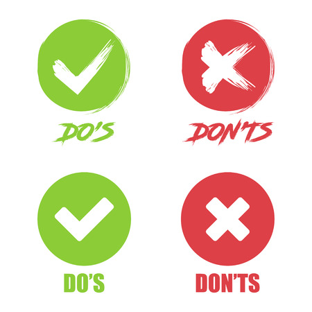 Set of Do and Dont check tick mark and red cross icons.