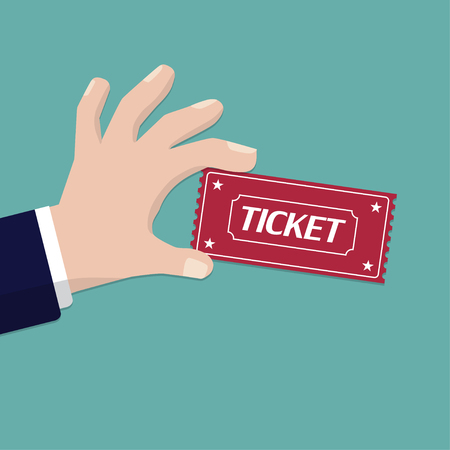 Hand holding ticket in a flat design. Vector illustration.
