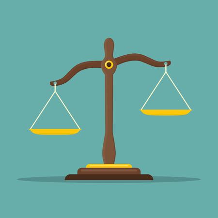 Justice scales icon. Law balance symbol. Libra in flat design. Vector illustration. Illustration