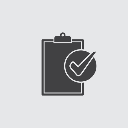 Compliance icon in black on a gray background. Vector illustration.