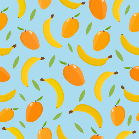 Seamless pattern with mango and banana. Tropical background.