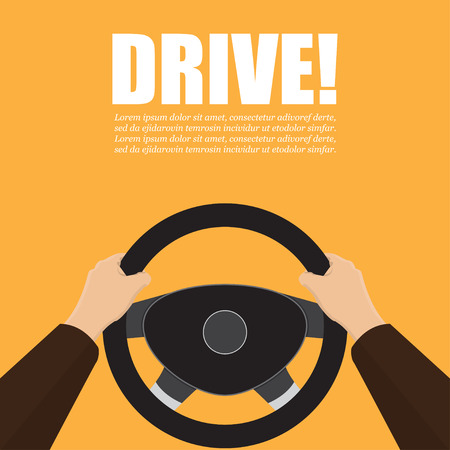 Las manos sostienen el volante del coche. Ilustración vectorial.