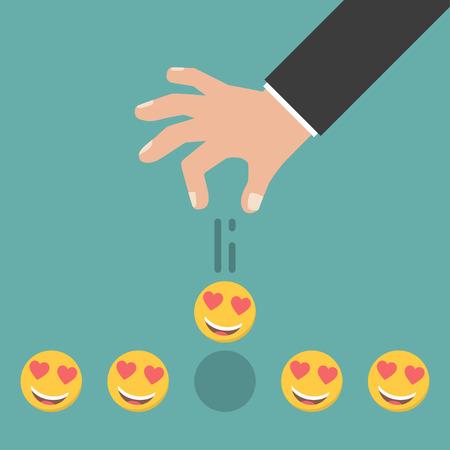 Smile Rating. Hand giving five smile rating. Vector illustration.