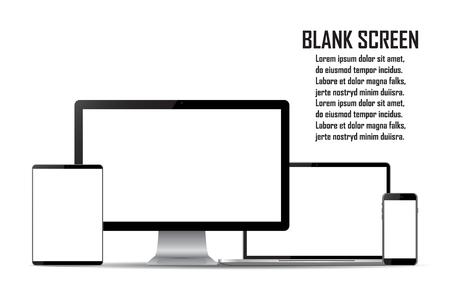 Set of blank screens. Computer monitor, laptop, tablet, smartphone. Illustration
