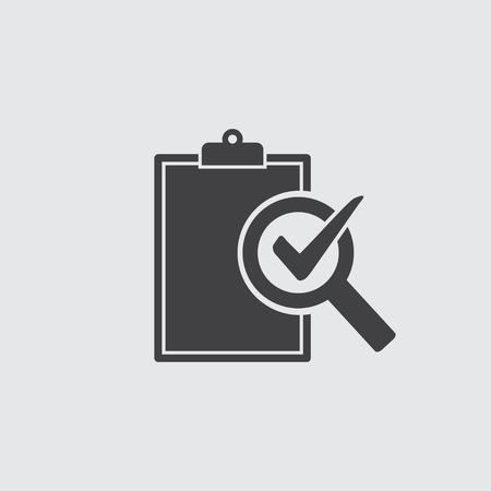 Audit icon in black on a gray background. Vector illustration. 版權商用圖片 - 113910352