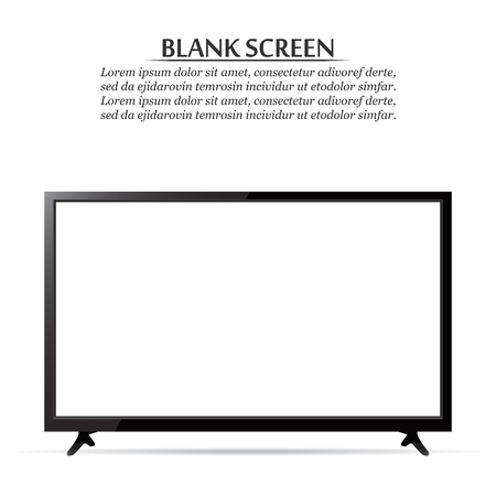 Blank screen. Realistic TV on a white background.